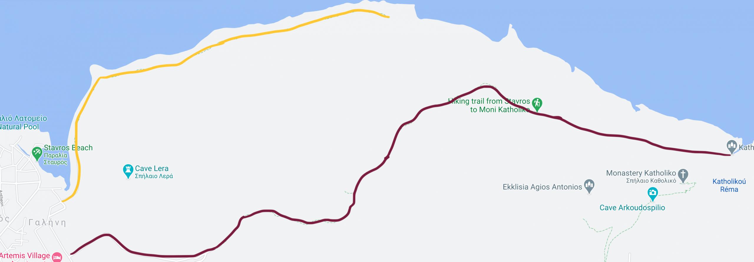 stavros szlak mapa